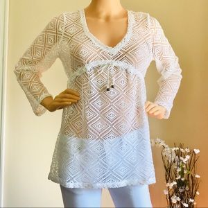 NWT Eshe Paradise White Cover-up Lace Size Small